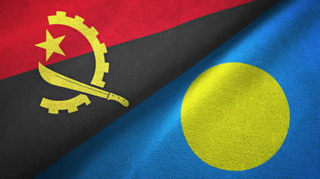 Angola and Palau two folded flags together Stock Photo