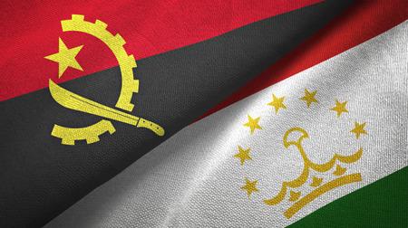 Angola and Tajikistan flags together textile cloth, fabric texture Stock Photo