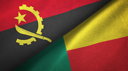Angola and Benin two folded flags together