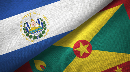 El Salvador and Grenada two folded flags together
