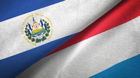 El Salvador and Luxembourg flags together textile cloth, fabric texture