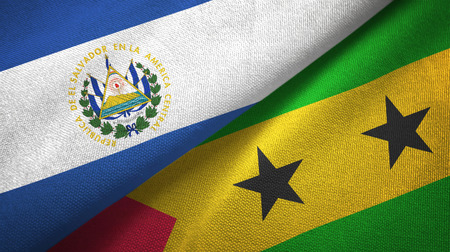 El Salvador and Sao Tome and Principe two folded flags together