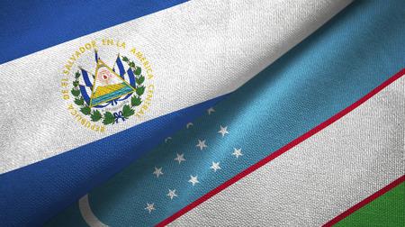 El Salvador and Uzbekistan flags together textile cloth, fabric texture Stock Photo