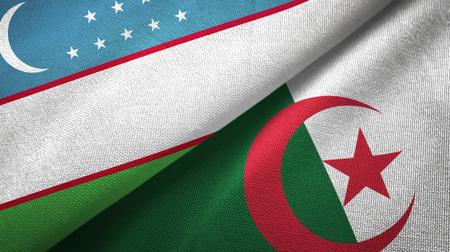 Uzbekistan and Algeria flags together textile cloth, fabric texture Stock Photo