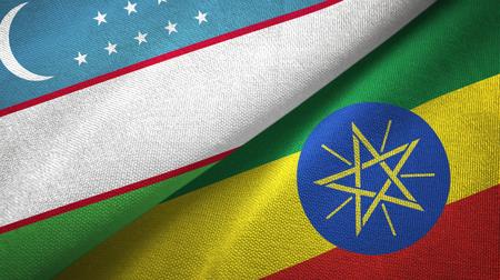 Uzbekistan and Ethiopia two folded flags together Stock Photo