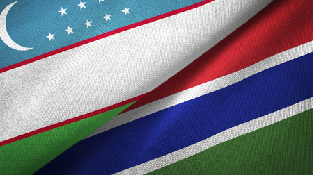 Uzbekistan and Gambia two folded flags together Stock Photo