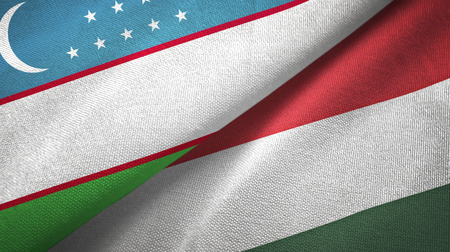 Uzbekistan and Hungary flags together textile cloth, fabric texture