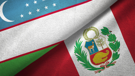 Uzbekistan and Peru flags together textile cloth, fabric texture
