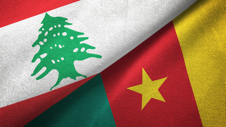 Lebanon and Cameroon two folded flags together