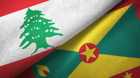 Lebanon and Grenada two folded flags together Stock Photo
