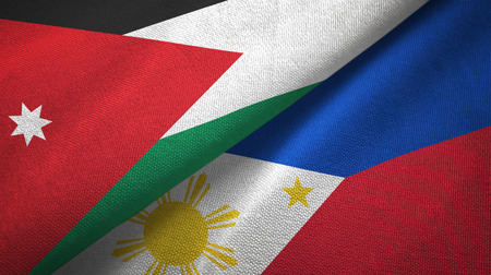 Jordan and Philippines two folded flags together