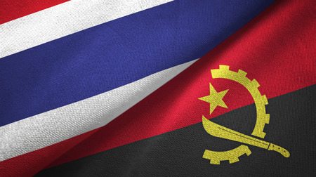 Thailand and Angola flags together textile cloth, fabric texture Stock Photo