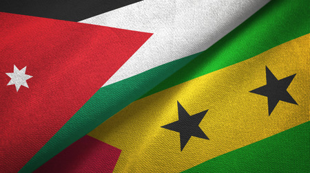 Jordan and Sao Tome and Principe two folded flags together