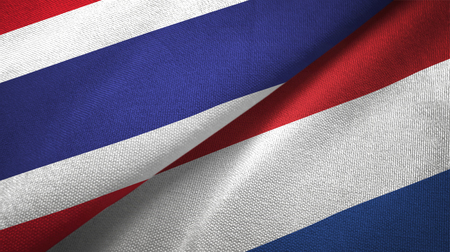 Thailand and Netherlands flags together textile cloth, fabric texture