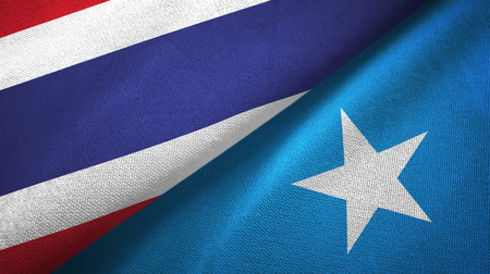 Thailand and Somalia two folded flags together Banque d'images