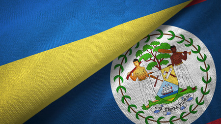 Ukraine and Belize two folded flags together Stock Photo