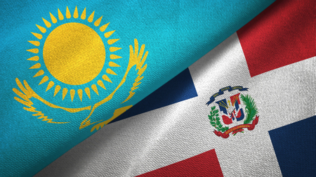 Kazakhstan and Dominican Republic two folded flags together Stok Fotoğraf
