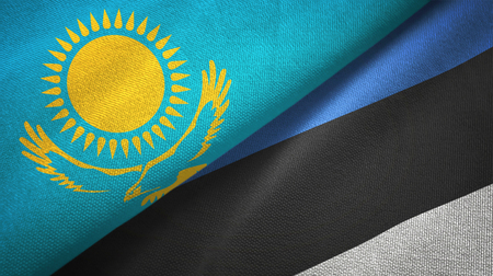 Kazakhstan and Estonia flags together textile cloth, fabric texture