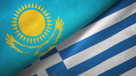 Kazakhstan and Greece flags together textile cloth, fabric texture