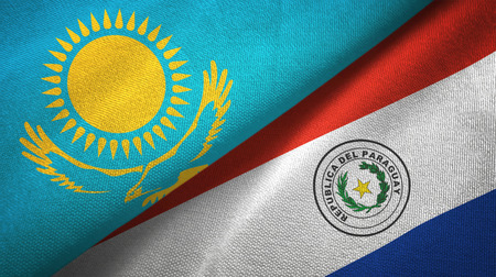 Kazakhstan and Paraguay flags together textile cloth, fabric texture