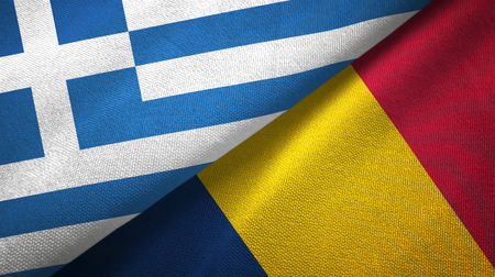 Greece and Chad two folded flags together