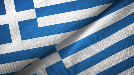 Greece and Greece flags together textile cloth, fabric texture Stock Photo