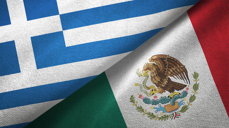 Greece and Mexico flags together textile cloth, fabric texture Stock Photo
