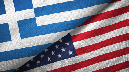 Greece and United States flags together textile cloth, fabric texture