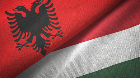 Albania and Hungary flags together textile cloth, fabric texture