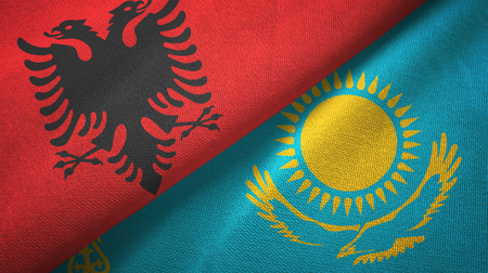 Albania and Kazakhstan flags together textile cloth, fabric texture