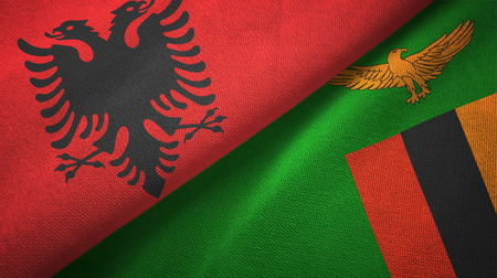 Albania and Zambia two folded flags together