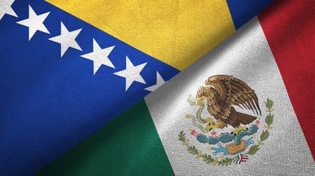 Bosnia and Herzegovina and Mexico flags together textile cloth, fabric texture