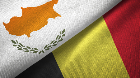 Cyprus and Belgium flags together textile cloth, fabric texture