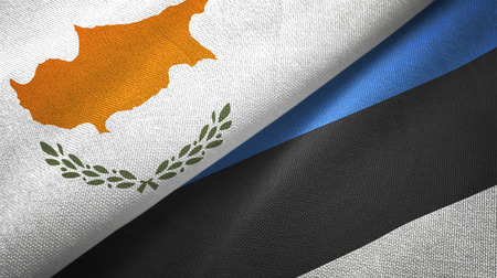 Cyprus and Estonia flags together textile cloth, fabric texture