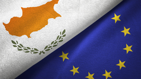 Cyprus and European Union flags together textile cloth, fabric texture Stock fotó