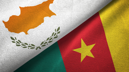 Cyprus and Cameroon two folded flags together