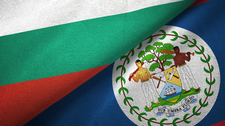 Bulgaria and Belize two folded flags together
