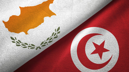 Cyprus and Tunisia flags together textile cloth, fabric texture