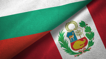 Bulgaria and Peru flags together textile cloth, fabric texture
