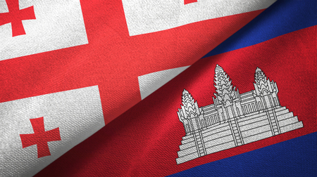 Georgia and Cambodia two folded flags together Stock Photo