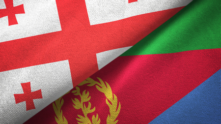 Georgia and Eritrea two folded flags together Stock Photo
