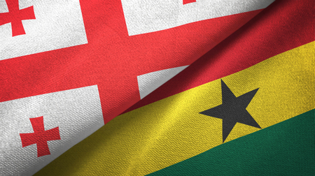 Georgia and Ghana two folded flags together