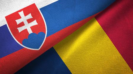 Slovakia and Chad two folded flags together Фото со стока