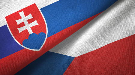 Slovakia and Czech Republic flags together textile cloth, fabric texture 版權商用圖片 - 121374265