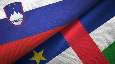 Slovenia and Central African Republic flags together textile cloth, fabric texture
