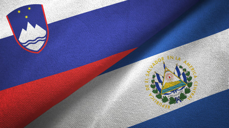 Slovenia and El Salvador two folded flags together