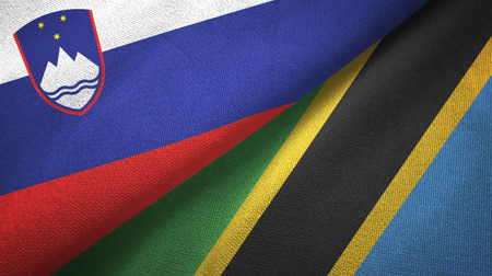 Slovenia and Tanzania two folded flags together Stock Photo - 121374409