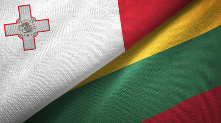 Malta and Lithuania flags together textile cloth, fabric texture