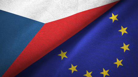 Czech Republic and European Union flags together textile cloth, fabric texture Stock Photo