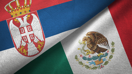 Serbia and Mexico flags together textile cloth, fabric texture
